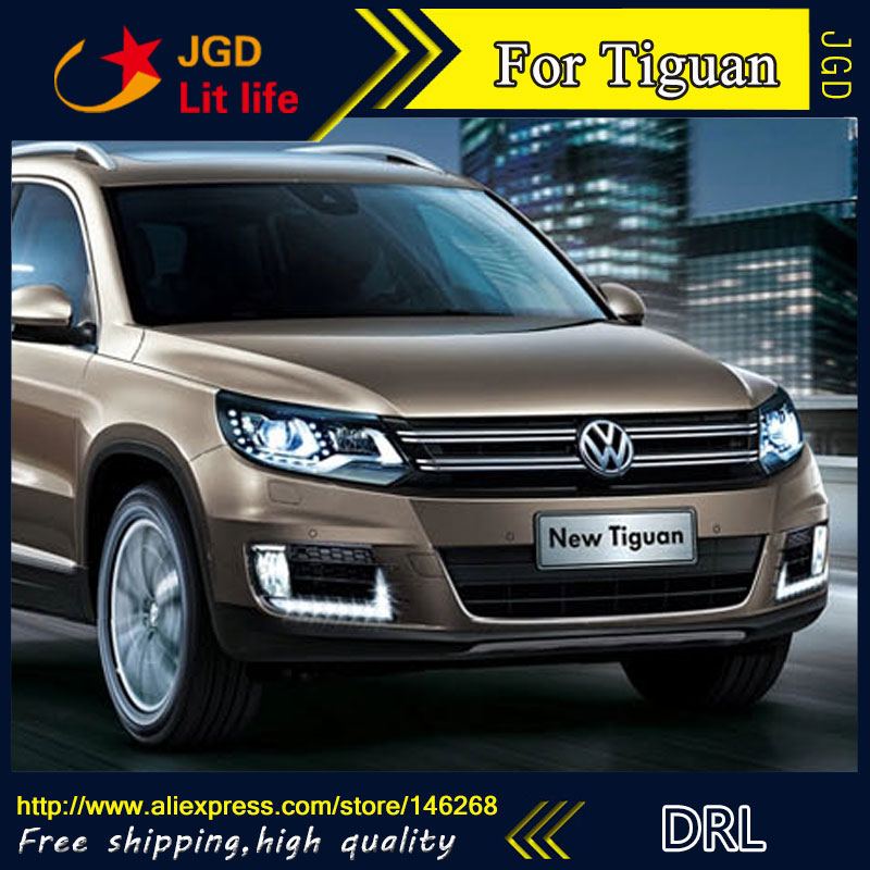 Free shipping ! 12V 6000k LED DRL Daytime running light for VW Tiguan 2013 fog lamp frame Fog light Car styling 2011 2013 vw golf6 daytime light free ship led vw golf6 fog light 2ps set vw golf 6