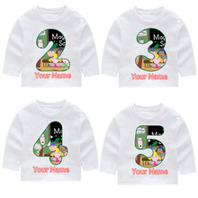 Ben And Holly Kingdom KIds Birthday Print Number Long Sleeve T-shirts Kids Fall Tops Baby Girl Harajuku Clothes