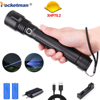 50000lumens powerful flashlight XLamp xhp70.2 led torch Zoomable 5modes xhp70 xhp50 18650 or 26650 battery Best Camping, Outdoor