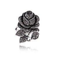 Brand Design Lady Vintage Jewelry Antique Silver Plated Retro Rhinestones Big Vivid Rose Flower Anniversary Rings
