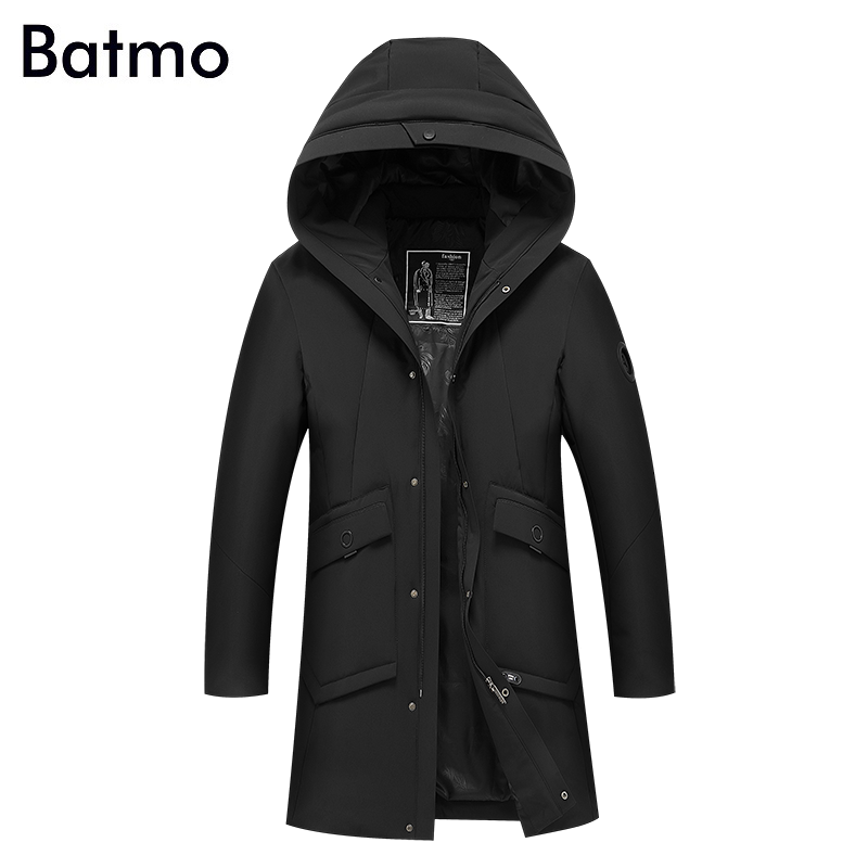 Batmo 2017 new arrival winter high quality keep warm 90% white duck down hooded long jacket men,winter mens thick coat 8822