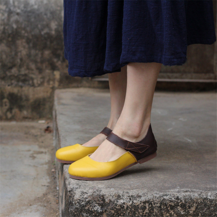 Women Genuine Leather Flat Shoes Barefoot Casual Shoes Woman Flats Ballerinas Sneakers Female Footwear Shoes 2019 Yellow Brown