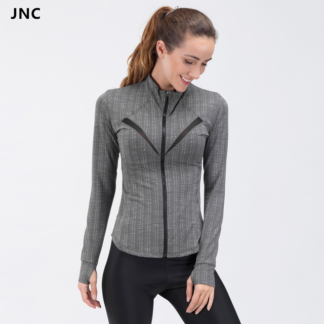 JNC Winter Women Grey Mesh Yoga Shirts Training Gym Coat Sports ...