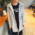 Autumn Long Trench Coat Men Fashion Mens Hooded Windbreaker Overcoat Styles Solid Single-Breasted Casaco Trench Coat Masculino