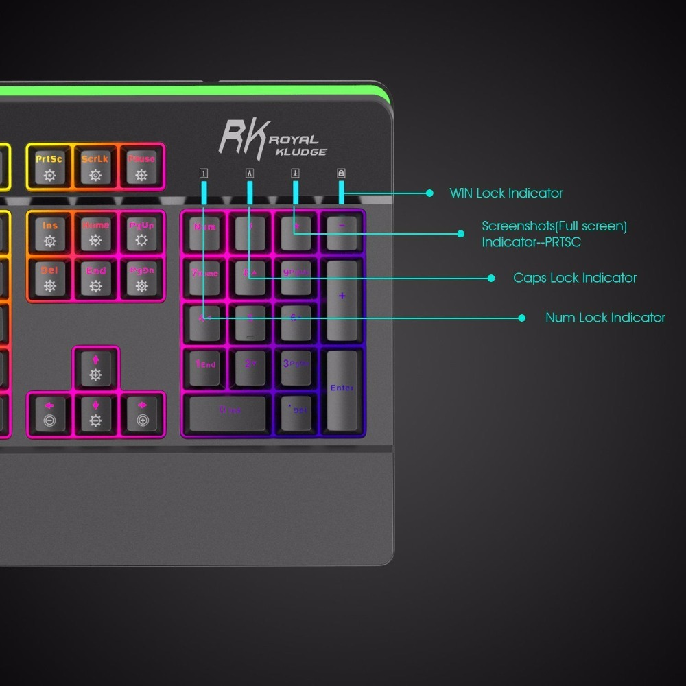 RKPro104 RGB LED Backlit Mechanical Gaming Keyboard Wired Double ...