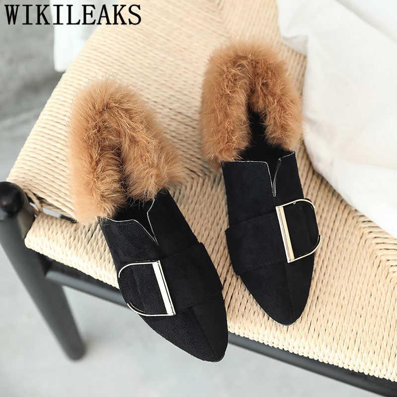 ab99606f5b7 ... 2018 new designer women shoes luxury brand flat shoes women fur slip on  loafers zapatillas mujer