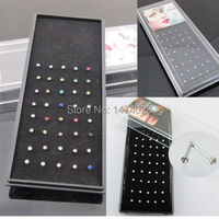 40pcs Lot Clear Multi Colour 2mm Crystal Nose Stud Bar Rings Body Piercing