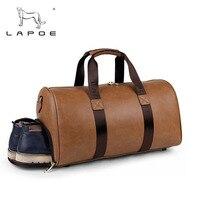 LAPOE Brand Fashion Extra Large Weekend Vintage Leather Travel Bag Duffel Bag Men Travel Bags Zipper