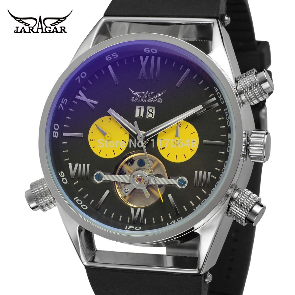 JARGAR JAG448M3S3 men automatic watch silver color case black dial with two yellow color eyes black plastic band gift box рюкзак case logic 17 3 prevailer black prev217blk mid