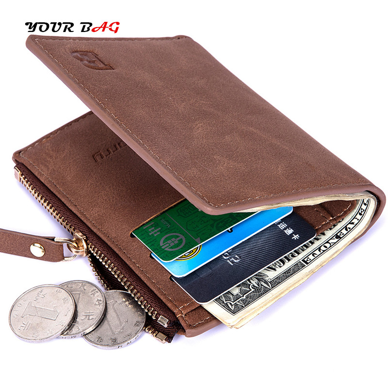 RFID, Coin, Short, Zipper, Purses, Leather