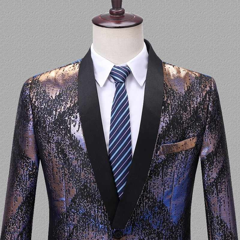 PYJTRL Mens Colorful Jacquard Geometry Pattern Slim Fit Blazers Singers Stage Costume Prom Dress Suit Jacket Fashion Coat Homme