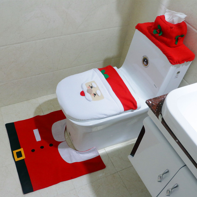 Christmas Interior 3pc Set Decoration Xmas Happy Santa Toilet Seat Cover And Rug Bathroom