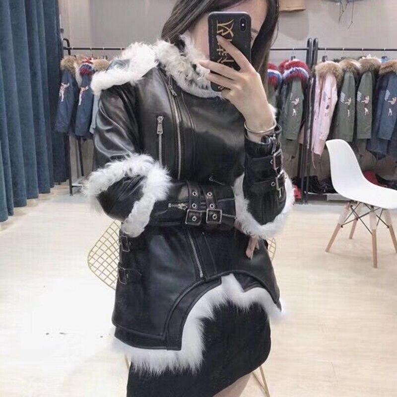 Peau De En 2018 Deux Cuir Hiver Automne Pièces Gilet Mode Robe Chevalier Mouton Femme Femelle Style Manteau Renard Ensemble Fourrure x07qnIY58w
