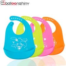 BalleenShiny Детские Водонепроницаемые Мягкие силиконовые нагрудники для младенцев с мультяшным принтом животных регулируемые инструменты для кормления 4 цвета нагрудники для мальчиков и девочек