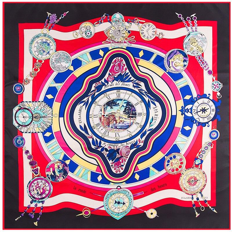 Fashion Twill Silk Women   Scarf   130*130 Euro Clockwork Stripes Print Square   Scarves     Wraps   Brand Quality Gift Large Silk Shawls