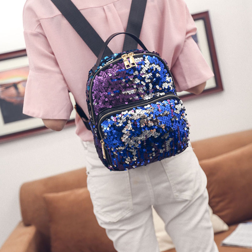 Women's PU Leather Sequins Backpack - Bling Backpack 2