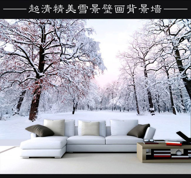 Hd winter schnee hintergrund mural wandbilder wohnzimmer ...