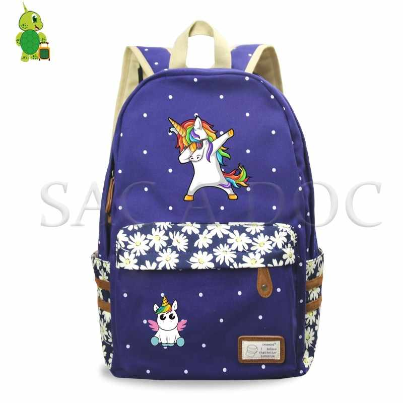 bb7e115360eb Dabbing Unicorn Backpack Girls Flower Wave Point School Backpack ...