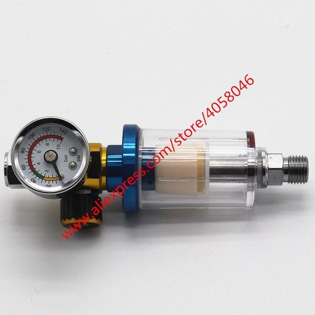 Pistola de pulverización para arañazos, manómetro de regulador de aire y trampa de agua en línea, herramienta de filtro, PISTOLA DE PULVERIZACIÓN, tabla reguladora de presión dedicada, 1 Uds.