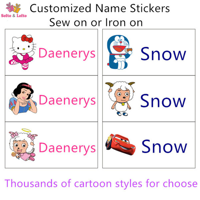 Free shipping customize sew on iron on kids name stickers cartoon patches kindergarten school quilt pillow