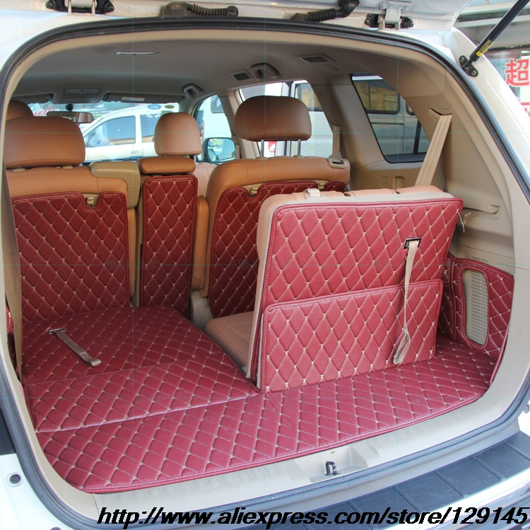 All surround car trunk mat for Toyota 2012 2013 Highlander 5seats 7seats 3D Anti-slip leather trunk pad Customized floor mat