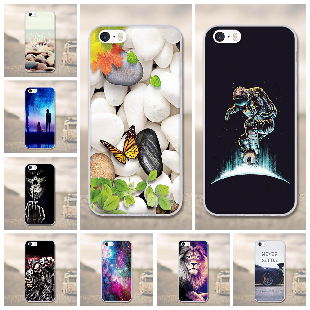 For iPhone 5 5S Case Soft Silicone 3D Painted Cover For Apple iPhone 5 S 5SE Cover Protector Back Cover 3D Relief Cases Shells