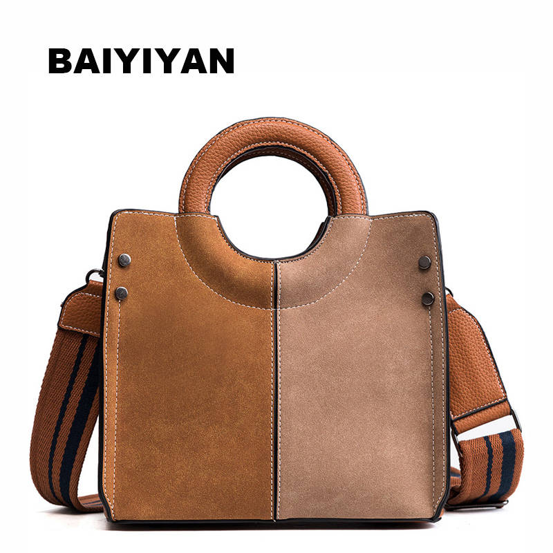New Fashion high quality Matter PU Leather Panelled Women handbag Ladies Shoulder Bag Female Circular Handle tote bag