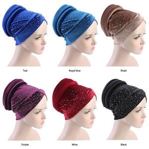 Image 5 - 女性ベルベットスパンコール hijabs 帽子イスラム教徒女性カバーインナーターバン帽子スカーフキャップターバン女性のヘアアクセサリー