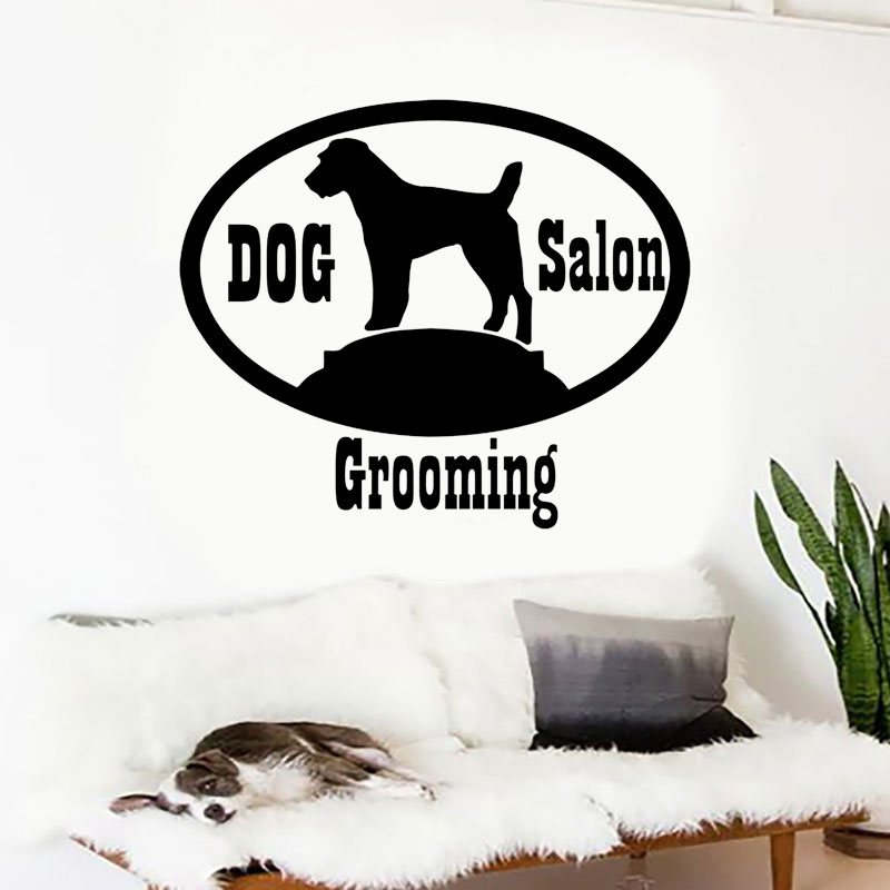Dog Grooming Salon Wall Sticker Vinyl Interior Design Window Decals Puppy Pet Shop Sign Removable Murals Pattern Wallpaper A253 in Wall Stickers from Home Garden