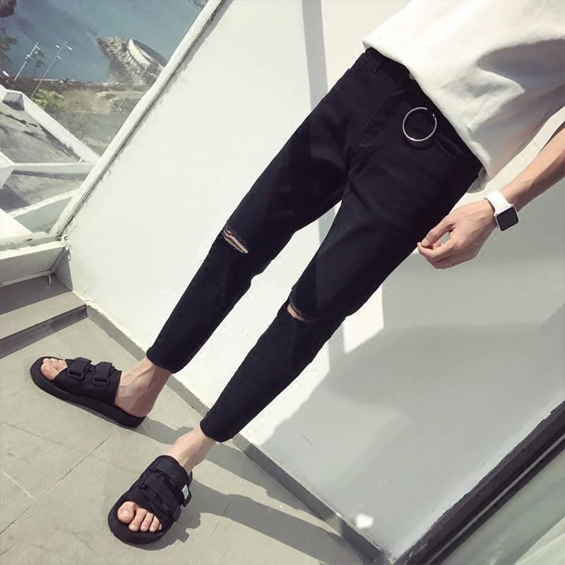 Korean Boys'Fashion Jeans Men's Slim, Small Feet, Nine Hundreds Of Fall And Winter Men's Trousers Black Hole Jeans