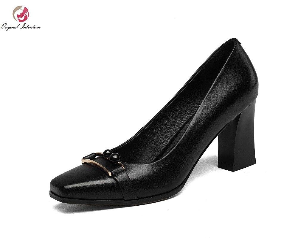 ФОТО New Elegant Women Pumps Nice Genuine Leather Cool Square Toe Square Heels Pumps Fashion Black White Shoes Woman Size 4-8.5