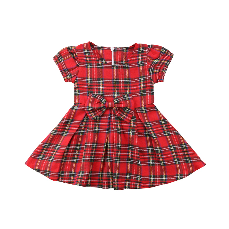 New Baby Christmas Dress Fashion Kids Sleeveless Red Plaid A Line Mini Dresses Princess Bow-knot Xmas Dresses Newborn Baby Dress