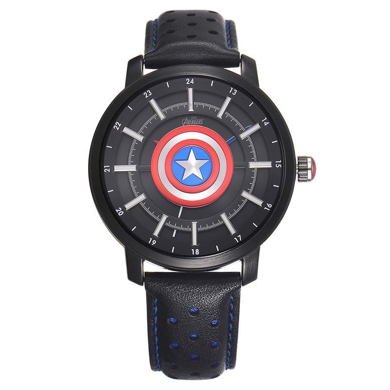 Children's Watches Disney brand Genuine leather quartz watches children for boys students Captain America waterproof