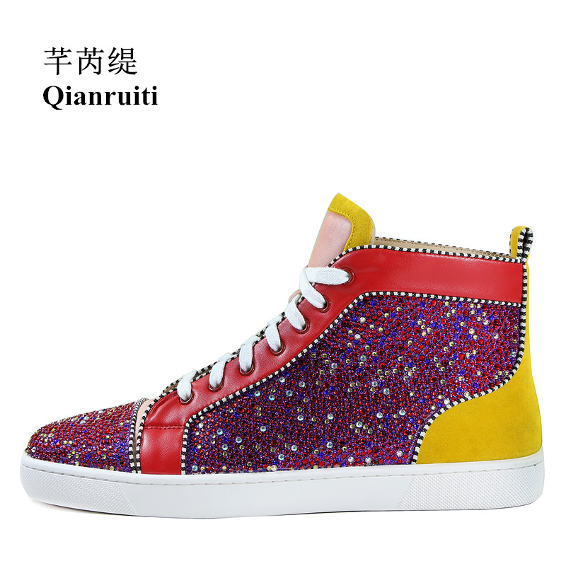 Qianruiti Men Patchwork Multicolor Rhinestone Sneaker Lace-up Flat High Top Men Camping Shoes EU39-EU47 qianruiti men mixed color spike shoes fish scale patchwork multicolor rhinestone sneaker lace up flat high top men camping shoes