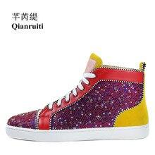 Qianruiti Men Patchwork Multicolor Rhinestone Sneaker Lace-up Flat High Top Men Camping Shoes EU39-EU47