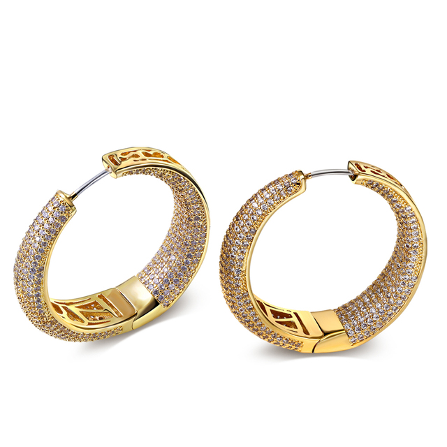 38mm big Hoop Earrings gold plated with white CZ round earrings for women new design high quality fashion jewelry Free shipment