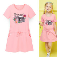 Cute Princess Pink Mini Dress Flower Camera Print Kids Baby Party Cute  Dress Summer Girls Fashion Sport Pocket Dress 3-13y ac2b850c8623