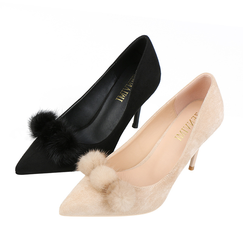 Fashion women 39 s shoes pointed suede fur shoes new shallow mouth real hair ball stiletto women 39 s high heel shoes in Women 39 s Pumps from Shoes