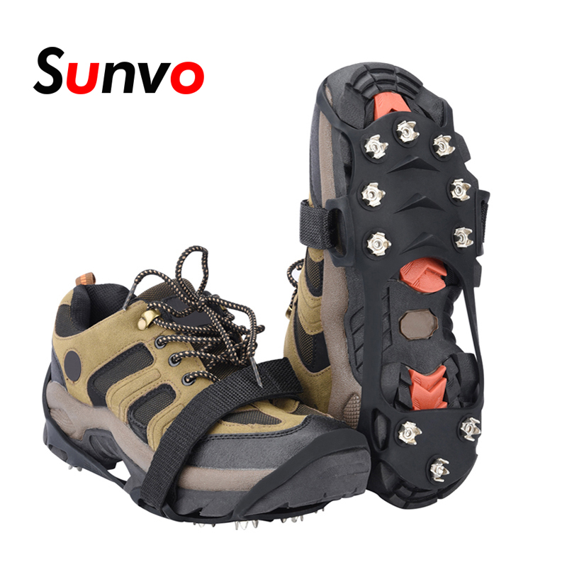 Sunvo Manganese Steel Ice Gripper Spikes with 10 Stud for Shoes Anti-slip Climbing Snow Crampons Cleats Chain Claws Grips Cover bsaid1pair silic ice grippers snow ice climbing anti slip spikes grips crampon cleat 5 stud shoes cover hiking trekking slipper