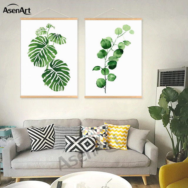 Watercolor tropical leaf canvas art print poster with for Mobili wooden art