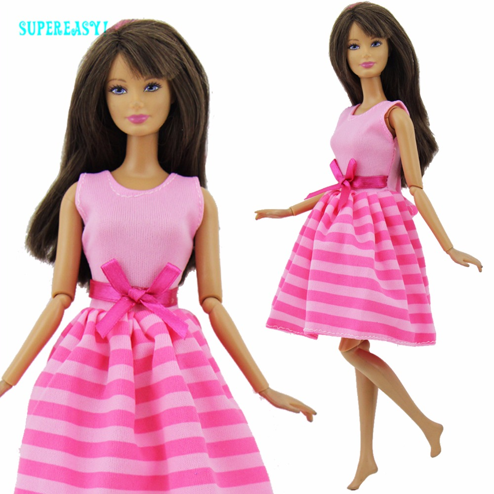 Fashion Dress Handmade Party Dating Dinner Mini Gown Stripes Pattern Bowknot Clothes For Barbie Doll Accessories Kids Toy Gift romantic dating floral pattern dress