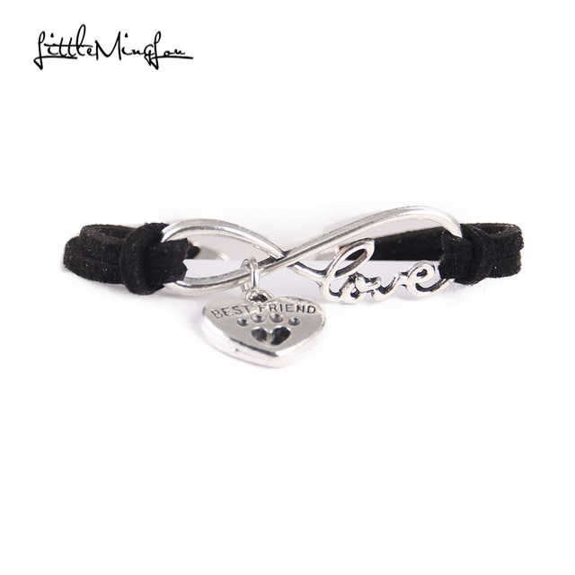 Infinity love dog cat pet paw footprint best friend bracelet heart charm men wrap bracelets & bangles for women jewelry 2