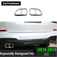 1 Pair Rear Exhaust Muffler Tail End Pipe Decorative Cover for BMW X3 2018 2019 stainless steel X3 trims Accessories