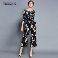 Early Fall Black Woman's Jumpsuits Lace Patched Slash Neck Office Lady Wide Leg Cami Palazzo Women Jumpsuit High Waist Tropical