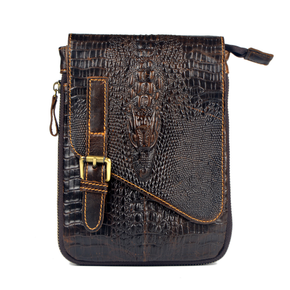 Crocodile pattern new genuine leather small messenger bags for men crossbody one shoulder bags male cowhide casual handbags 2017 new female genuine leather handbags first layer of cowhide fashion simple women shoulder messenger bags bucket bags