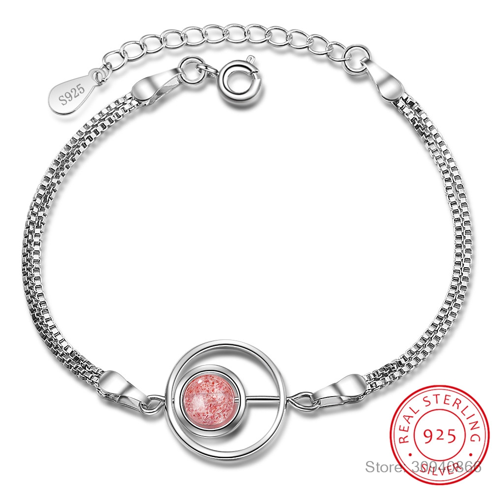 Real. 925 Sterling Silver Fine Jewelry 8MM Natural strawberry Quartz Stone into the circle Chain Bracelet GTLS516