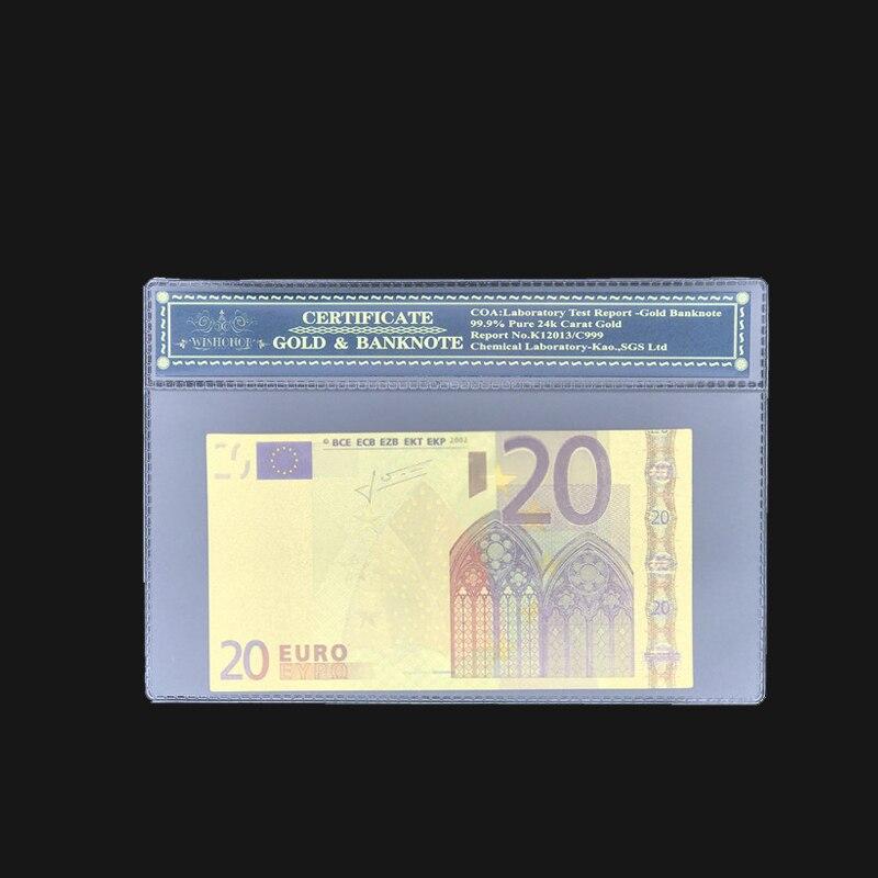 Notas euro cor atacada 20 euro banhadas a ouro 24k quadro de coa de plástico para presentes e coleção