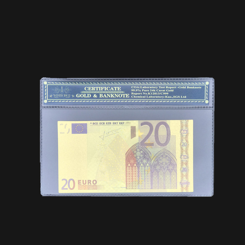 Wholesale Color <font><b>Euro</b></font> <font><b>Banknotes</b></font> <font><b>20</b></font> <font><b>Euro</b></font> <font><b>Banknote</b></font> in 24k Gold Plated With Plastic COA Frame For Gifts and Collection image
