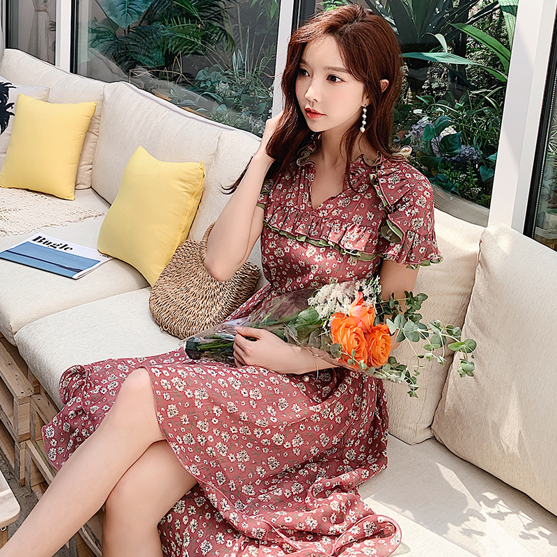 Dabuwawa Women Sexy Floral Chiffon Dress 2019 New Summer Romantic Trendy Ruffled Print Date Holiday Dress