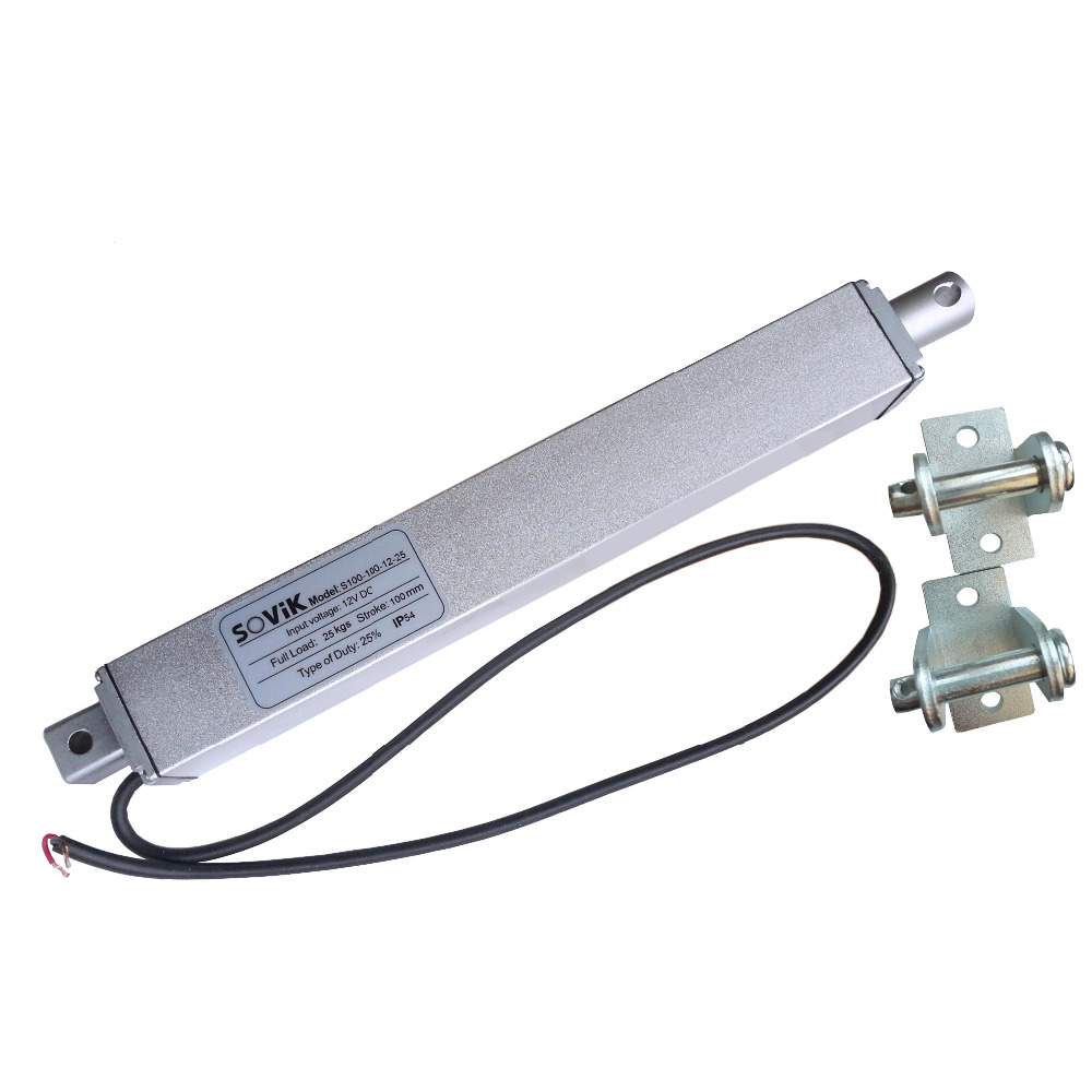 SOVik 100mm Stroke Mini Multi-function Linear Actuator 12V DC 250N Max Lift Electric Motor In-line Square Tubular DesignedSOVik 100mm Stroke Mini Multi-function Linear Actuator 12V DC 250N Max Lift Electric Motor In-line Square Tubular Designed